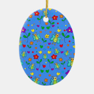 Cute butterflies and flowers pattern - blue ceramic ornament