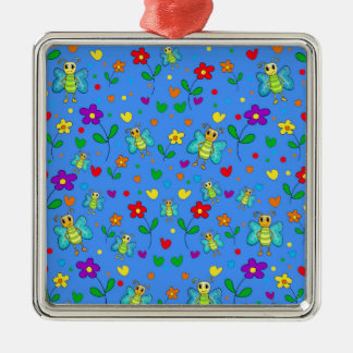 Cute butterflies and flowers pattern - blue metal ornament