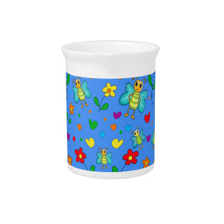 Cute butterflies and flowers pattern - blue pitcher