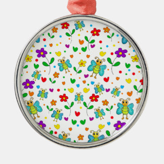 Cute butterflies and flowers pattern metal ornament