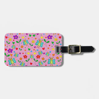 Cute butterflies and flowers pattern - pink bag tag