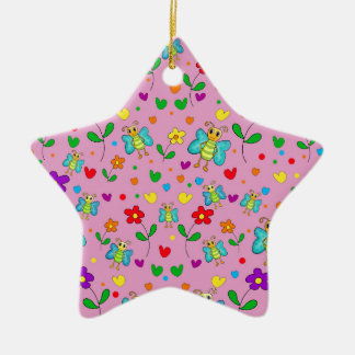 Cute butterflies and flowers pattern - pink ceramic ornament