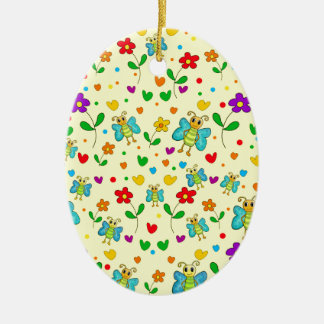 Cute butterflies and flowers pattern - yellow ceramic ornament