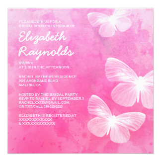 Cute Butterflies Bridal Shower Invitations Custom Announcements