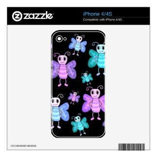 Cute butterflies - cartoon style skin for iPhone 4