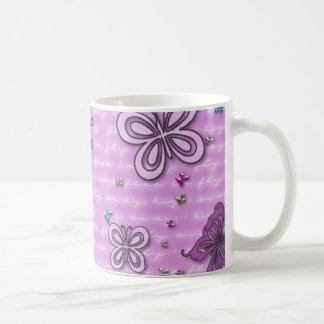 Cute Butterflies Fluttering Background Coffee Mugs