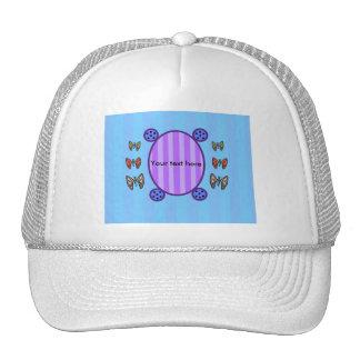 Cute butterflies on blue stripes trucker hat