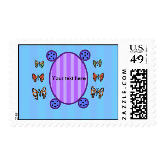 Cute butterflies on blue stripes postage stamps