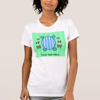 Cute butterflies on light green and blue stripes tee shirt