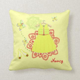 Cute Butterflies Pretty Girls Dress on Hanger Throw Pillow