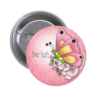 Cute butterfly and flowers 2 inch round button