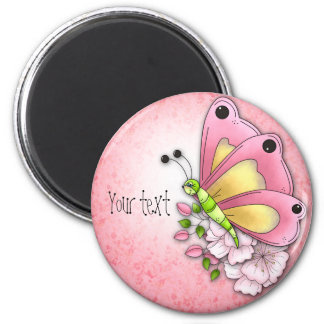 Cute butterfly and flowers 2 inch round magnet