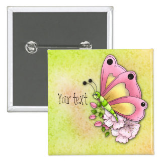 Cute butterfly and flowers 2 inch square button