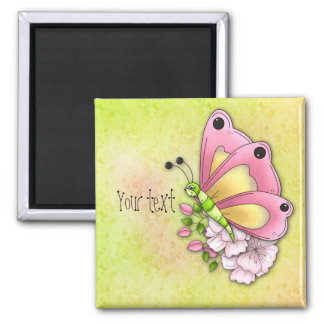 Cute butterfly and flowers 2 inch square magnet