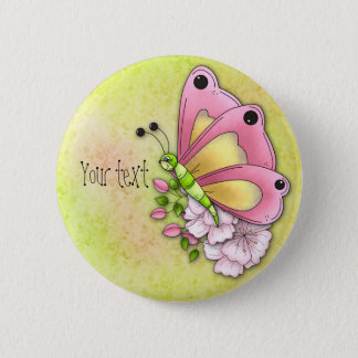 Cute butterfly and flowers button