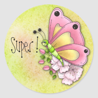 Cute butterfly and flowers classic round sticker