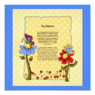 Cute butterfly and flowers design card