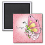 Cute butterfly and flowers magnet