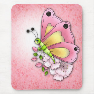 Cute butterfly and flowers mouse pad
