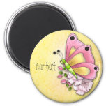 Cute butterfly and flowers refrigerator magnets