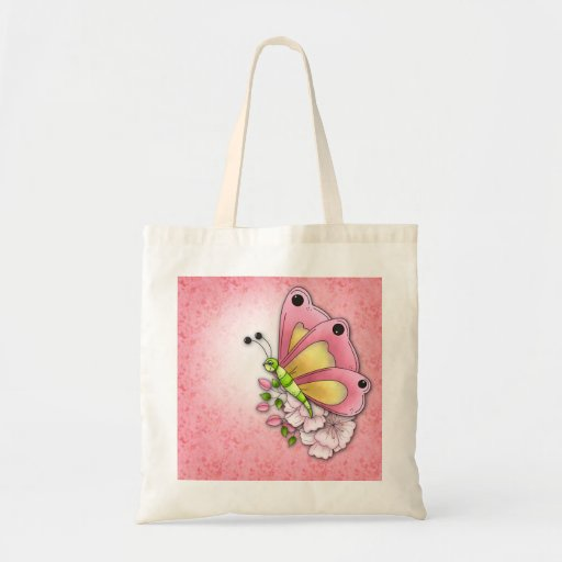Cute butterfly and flowers tote bags