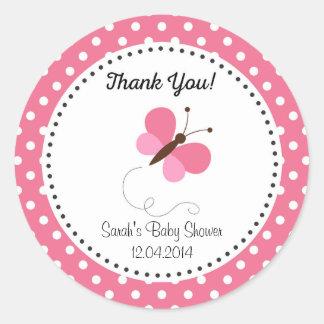 Cute Butterfly Baby Shower Sticker Pink