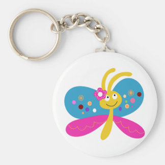 Cute Butterfly Basic Round Button Keychain