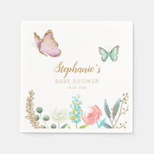 Pk 4 Dinner Napkin with pink white,silver butterflies