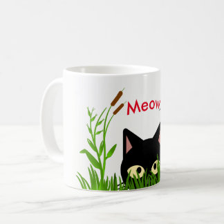 Cute Butterfly Garden with Black Cat Mug