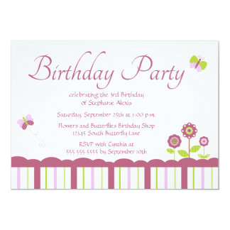 "Cute butterfly girl's birthday party invitation 5"" x 7"" invitation card"