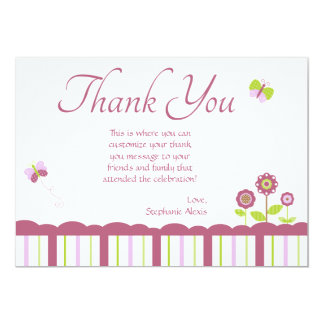 "Cute butterfly girl's thank you flat card 5"" x 7"" invitation card"