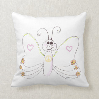 Cute Butterfly hearts flowers Throw Pillow