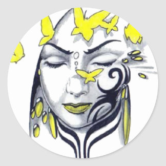cute butterfly lady classic round sticker