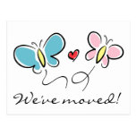 Cute butterfly moving postcards | We've moved!
