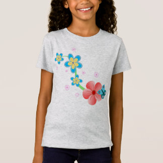 Cute Butterfly on Pink and Blue Flowers Girl's T-Shirt
