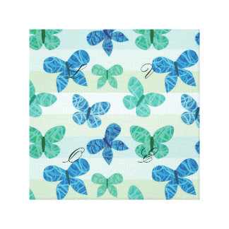 Cute,butterfly,pattern,trendy,teal,blue,mint,white Canvas Print