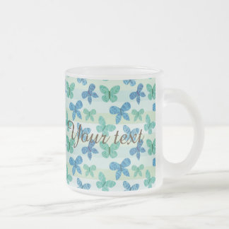 Cute,butterfly,pattern,trendy,teal,blue,mint,white 10 Oz Frosted Glass Coffee Mug