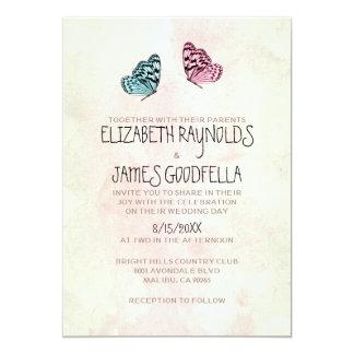 "Cute Butterfly Wedding Invitations 5"" X 7"" Invitation Card"