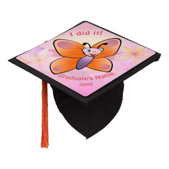 Cute Butterfly With Colorful Flowers Graduation Cap Topper