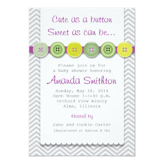 Lovely Cute Button Baby Shower Invitation