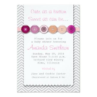 Cute Button Baby Shower Invitation
