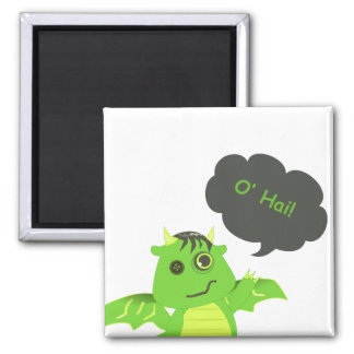 Cute Button Eyed Zombie Dragon 2 Inch Square Magnet