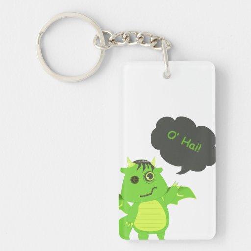 Cute Button Eyed Zombie Dragon Single-Sided Rectangular Acrylic Keychain