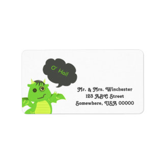 Cute Button Eyed Zombie Dragon Personalized Address Labels