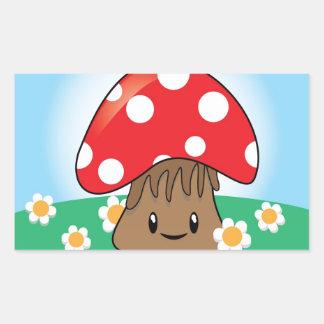 Cute Button Mushroom Rectangular Sticker