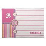 Cute Buttons Pink Stripes Monogram Kids placemat Cloth Place Mat
