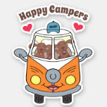 Cute Buzby The Bus & Dogs Happy Campers Sticker