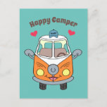 Cute Buzby The Bus Happy Camper Motivational Postcard