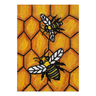 Cute Buzzing Bees on Honeycomb Poster