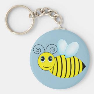 Cute Buzzing Honey Bee Basic Round Button Keychain